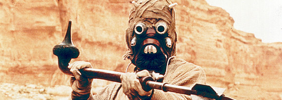 "Peter Diamond in his iconic role as  a Tusken Raider in ""Star Wars: A New Hope"" (Lucasfilm Ltd)"